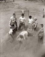 1950s Boys Fight In Sand Lot On Baseball Field