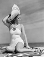 1930s 1940s Woman In Bathing Suit On Beach Wearing Big Hat
