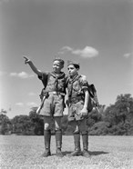 1950s Two Boy Scouts One Pointing Wearing Hiking Gear