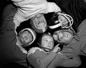 1960s Five Boys In Huddle Wearing Helmets & Football Jerseys