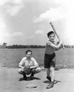 1930s Two Boys Batter And Catcher Playing Baseball