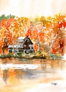Fall Cabin by the Lake