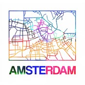 Amsterdam Watercolor Street Map