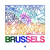 Brussels Watercolor Street Map