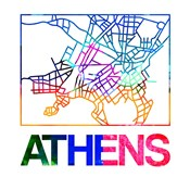 Athens Watercolor Street Map