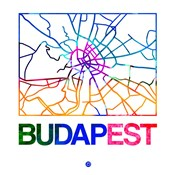 Budapest Watercolor Street Map