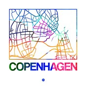 Copenhagen Watercolor Street Map