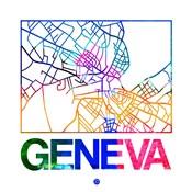 Geneva Watercolor Street Map