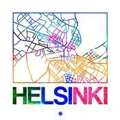 Helsinki Watercolor Street Map