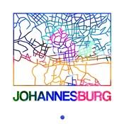 Johannesburg Watercolor Street Map