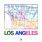 Los Angeles Watercolor Street Map