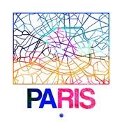 Paris Watercolor Street Map