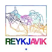 Reykjavik Watercolor Street Map