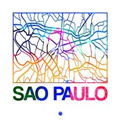 Sao Paulo Watercolor Street Map