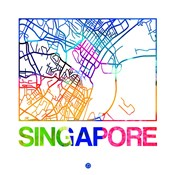 Singapore Watercolor Street Map