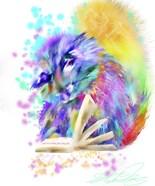 Colorful Rainbow Kitten Reading