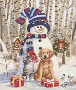 Kitten and Puppy with Snowman