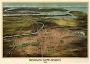 Birdseye View Of Newark, New Jersey 1916