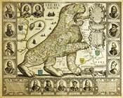Leo Belgicus Map - Hendrik Floris Van Langren Pre 1609