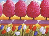 Pink Trees Path & Tulips