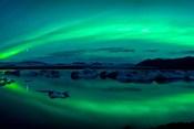 Aurora Borealis or Northern Lights over Jokulsarlon Lagoon, Iceland