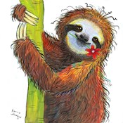 Sloth with Red Flower