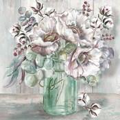 Blush Poppies and Eucalyptus in Mason Jar