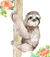 Tropical Sloth with Peach Flowers
