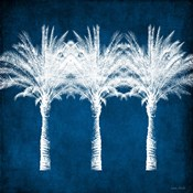 Indigo and White Palm Trees