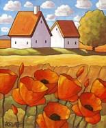 Red Flower Fields Landscape
