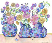Three Cobalts With Wildflowers