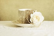 Antique Cup and Saucer with White Flower and Pearls