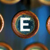 Letter E of Typewriter 'LOVE'