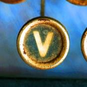 Letter V of Typewriter 'LOVE'