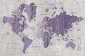 Old World Map Purple Gray