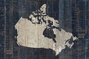 Old World Map Blue Canada