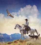 Cowboy With Dog And Hawk