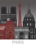 Paris Elevations by Night Red