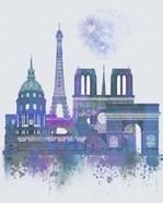 Paris Skyline Watercolour Splash Blue