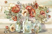 Spice Poppies and Eucalyptus in bottles Landscape