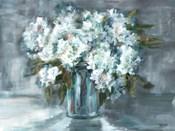 White Hydrangeas on Gray Landscape