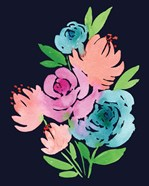 Navy Watercolor Floral I