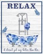 Blue Floral Bath Art A