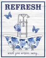 Blue Floral Bath Art B