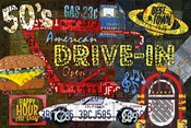 American Driveins License Plate Art Collage