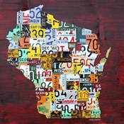 Wisconsin Counties License Plate Map