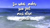 Do What Makes You Feel Most Alive